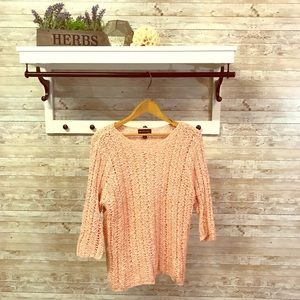 Open knit coral sweater